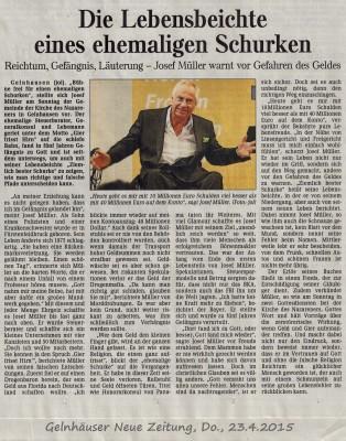 Gelnhausen Zeitg artikel April 2015