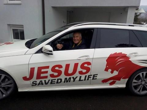 JESUS Bild mit Auto von Michael Stahl