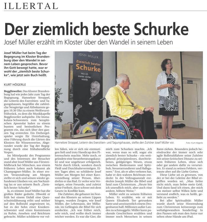 Kloster Brandenburg Illertal Zeitung Juli 2014
