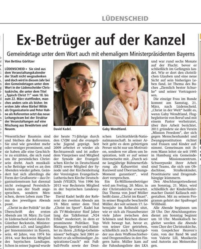 Lüdenscheid Ex Betrüge auf Kanzel  10.3.15