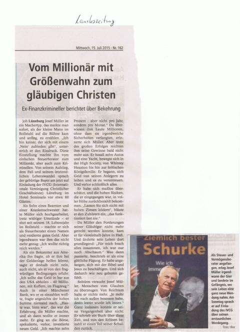 Lüneburg Landeszeitung 15.7.15