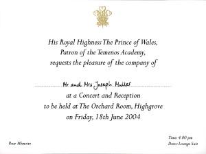 Einladung vom Buckingham Palace  im Sommer 2004 zu einem Empfang auf dem Landsitz von Prinz Charles nach Highgrove
