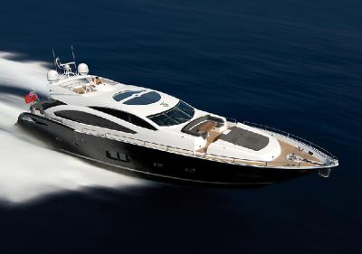 """Seine Sunseeker Yacht """"Lady Sandra""""  auf der Insel Mallorca"""